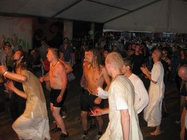 dancing in tent