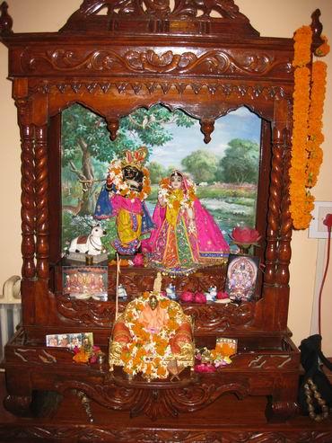 home altar with Radha Madhava and Srila Prabhupada