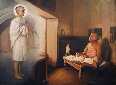 Srila Rupa Goswami gives his blessings to Srila Prabhupada for his mission
